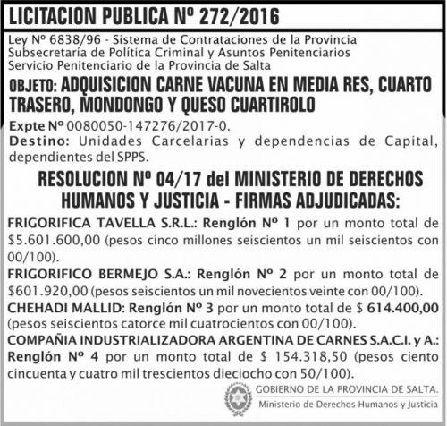 Licitación: Licitacion Publica Adjudicada 272 SPPS