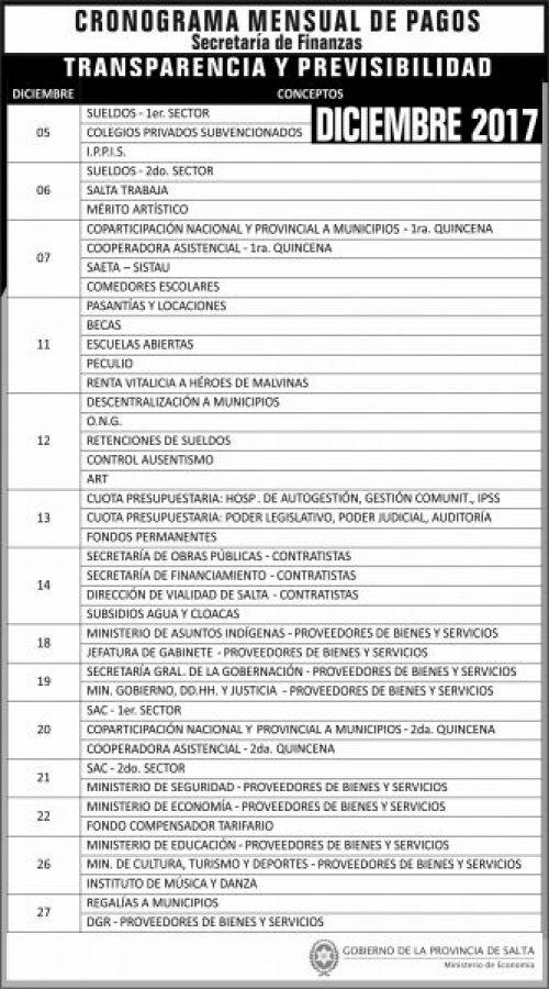 Edictos / Comunicados: Cronograma de pagos DICIEMBRE 2017