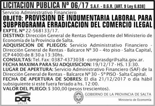Licitación: Licitacion Publica 06 DGR 2x5 ND