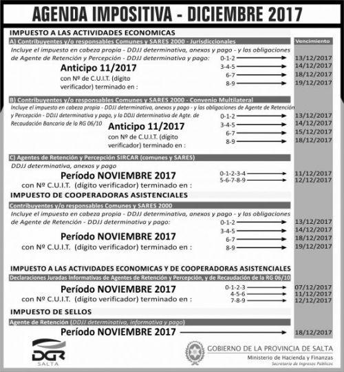 Edictos / Comunicados: Agenda DICIEMBRE 2017