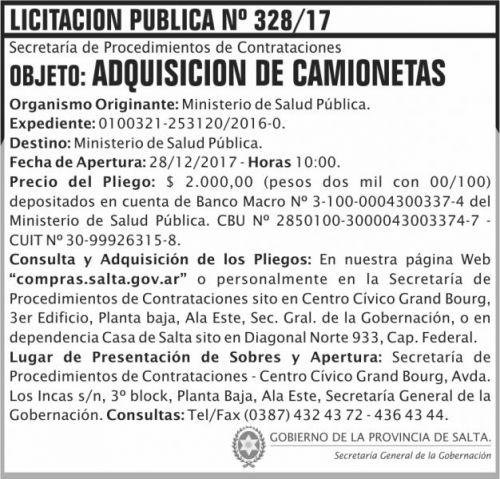 Licitación: Licitacion Publica 328 SGG MSP