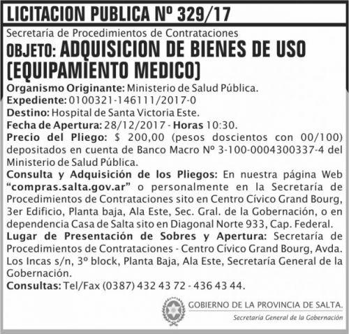 Licitación: Licitacion Publica 329 SGG MSP