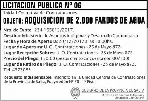 Licitación: Licitación Pública Nº06