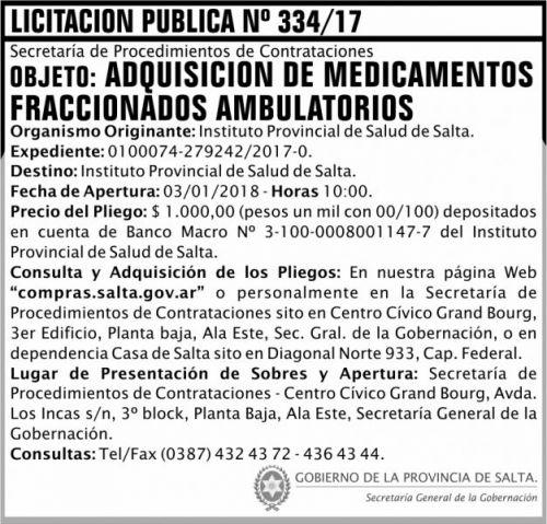 Licitación: Licitación Pública Nº 334