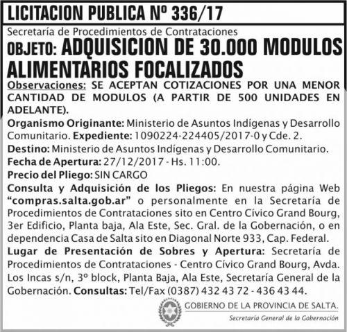 Licitación: Licitación Pública Nº 336