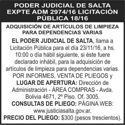 Licitación: Licitación Pública 18/16