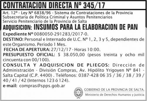 Licitación: Contratación Directa 345