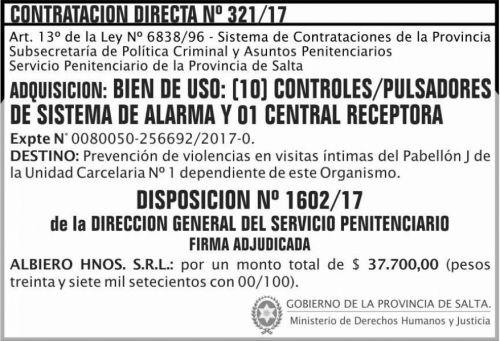 Licitación: Contratación Directa Nº 321