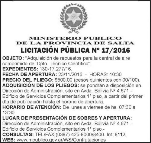 Licitación: Licitación Pública Nº 17/2016