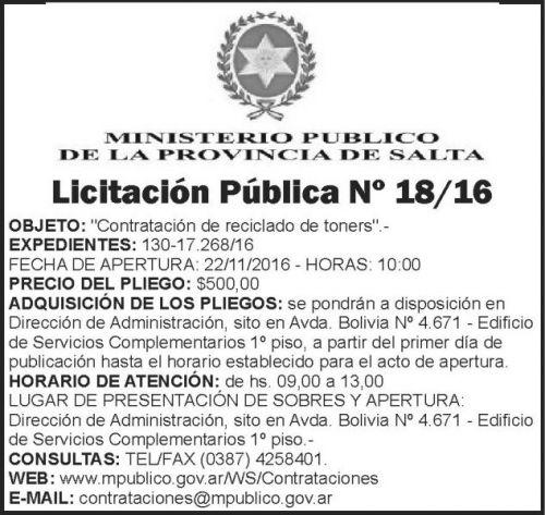 Licitación: Licitación Pública Nº 18/16
