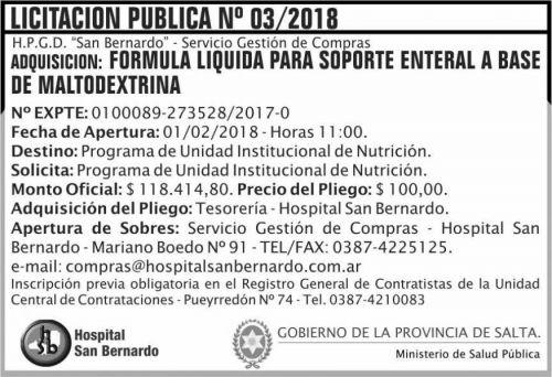 Licitación: Licitacion Publica 03 MSP SB