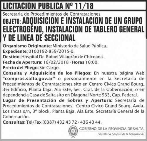 Licitación: LICITACION PUBLICA 11