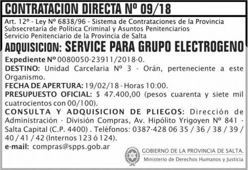 Concurso de Precios: Contratacion Directa 09 SPPS