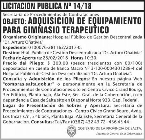 Licitación: Licitacion Publica 14 SGG HP Oñativia