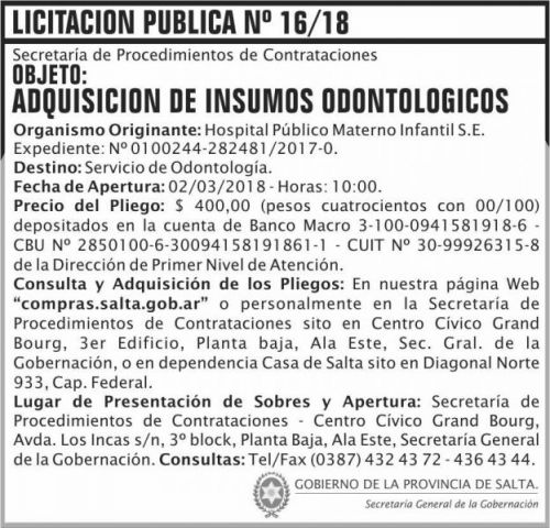 Licitación: Licitacion Publica 16 SGG HPMI