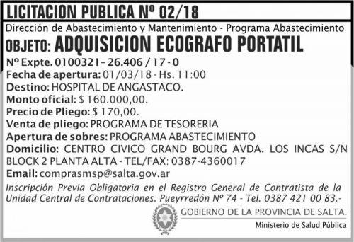 Licitación: Licitacion Publica 02 MSP