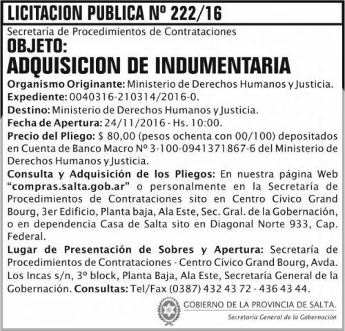 Licitación: Licitación Pública Nº 222/16