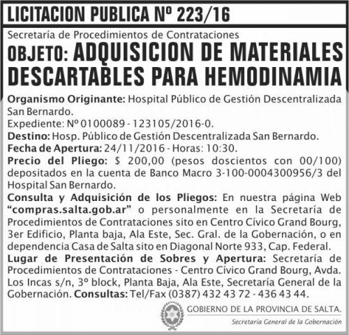 Licitación: Licitación Pública Nº 223/16