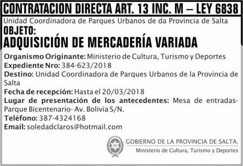 Licitación: Contratacion Directa Art 13 MDCT