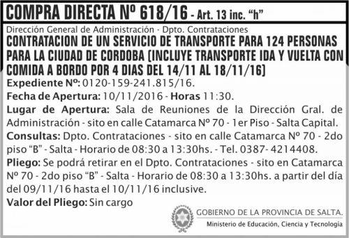 Compra Directa: Compra Directa Nº 618/16