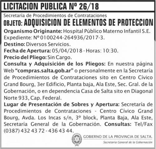 Licitación: Licitacion Publica 26 SGG HPMI