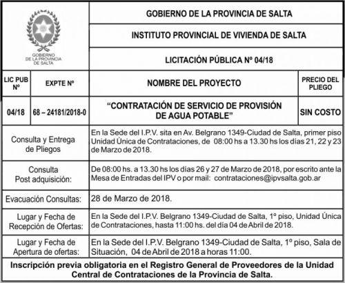 Licitación: Licitacion Publica 04 IPV