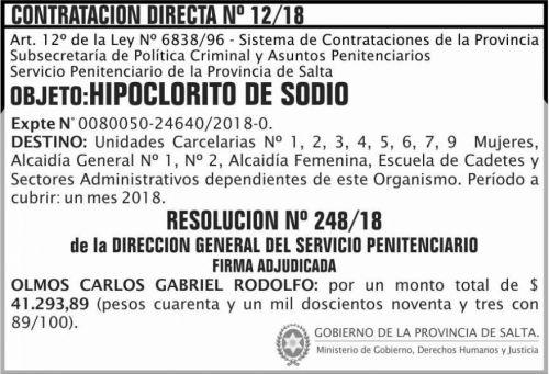 Concurso de Precios: Contratacion Directa Adjudicada 12 SPPS