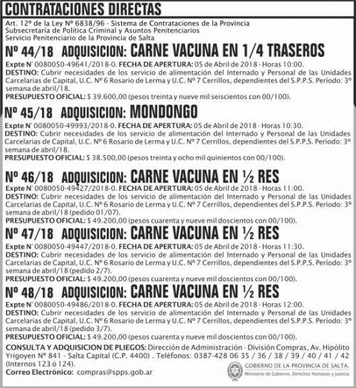 Compra Directa: Contratacion Directa N 44 a 48 SPPS MDHJ