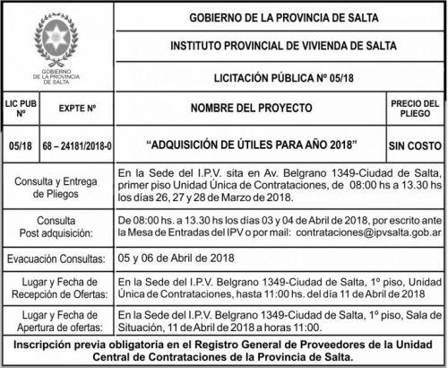 Licitación: Licitacion Publica 05 IPV