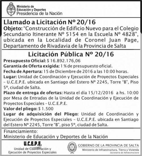 Licitación: Licitación Pública Nº 20/16