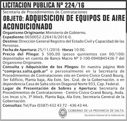 Licitación: Licitación Pública Nº 224/16
