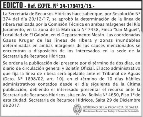 Edictos / Comunicados: EDICTO Rio Juramento