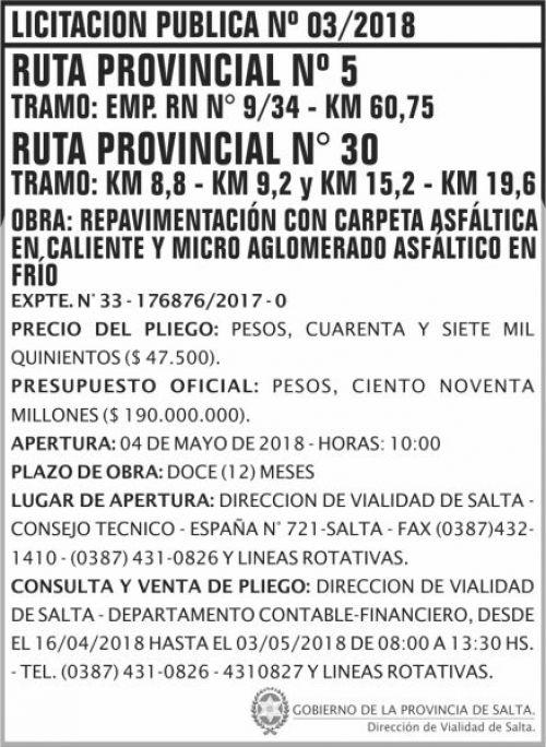 Licitación: Licitacion Publica 03 DVS