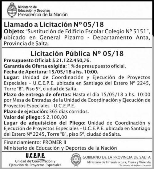 Licitación: Licitacion Publica 05 MEDN Ucepe