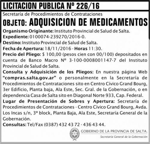 Licitación: Licitación Pública Nº 226/16