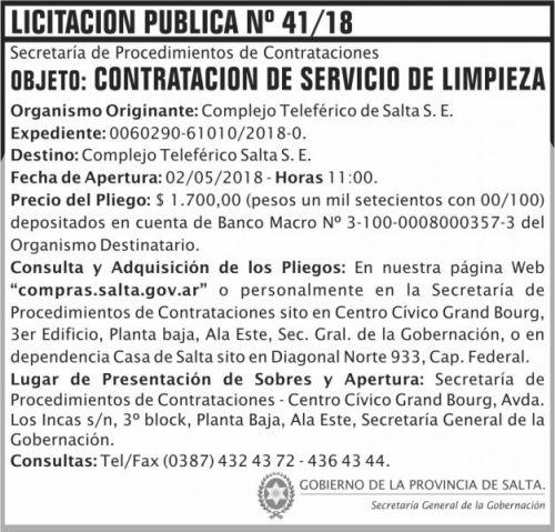 Licitación: Licitacion Publica 41 SGG CTS