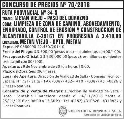 Concurso de Precios: Concurso de Precios Nº 70/2016