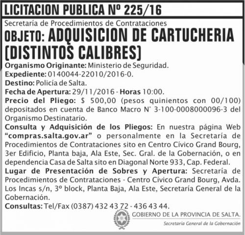 Licitación: Licitación Pública Nº 225/16