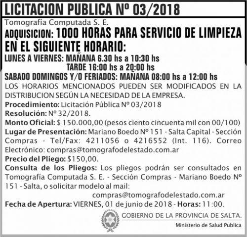 Licitación: Licitacion Publica 03 TCSE MSP