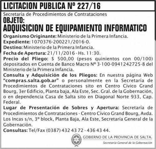Licitación: Licitación Pública Nº 227/16