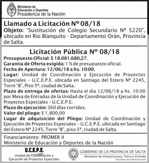 Licitación: Licitacion Publica 08 MEDN Ucepe