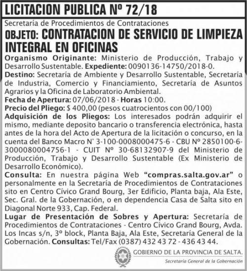 Licitación: Licitacion Publica 72 SGG MPTDS