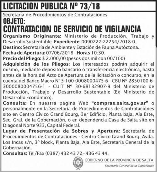 Licitación: Licitacion Publica 73 SGG MPTDS