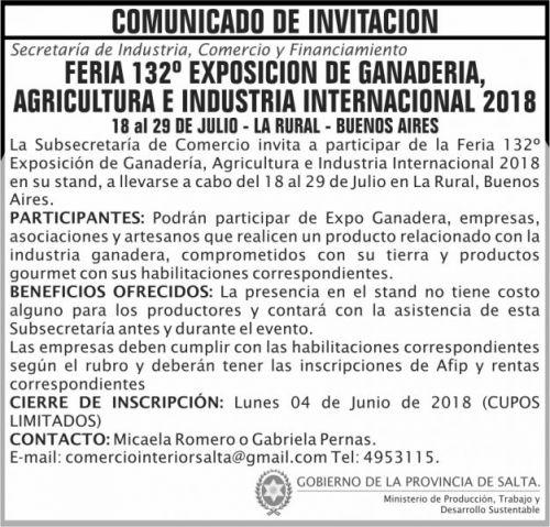 Concurso de Precios: Comunicado INVITACION Expo Ganadera 2018