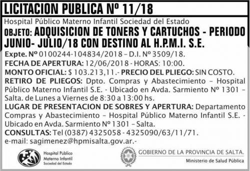 Licitación: Licitacion Publica 11 MSP HPMI