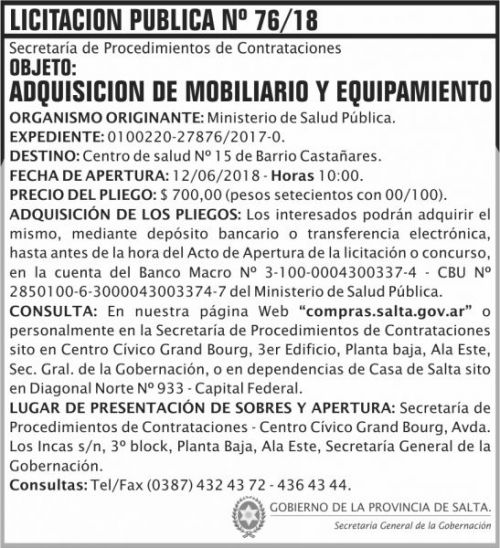 Licitación: Licitacion Publica 76 SGG MSP