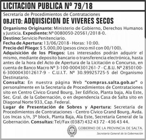 Licitación: Licitacion Publica 79 SGG MGDHJ SP