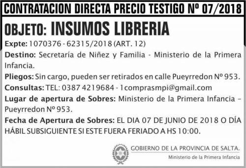 Licitación: CONTRATACION DIRECTA PRECIO TESTIGO 07