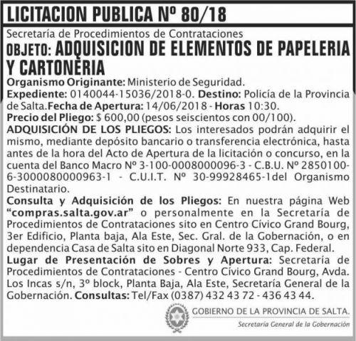 Licitación: LICITACION PUBLICA 08
