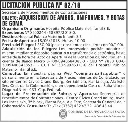 Licitación: Licitacion Publica 82 SGG HPMI